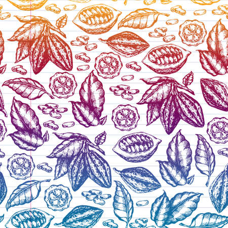Colorful cocoa beans illustration on white background. Engraved style illustration. Chocolate cocoa beans.  seamless illustration