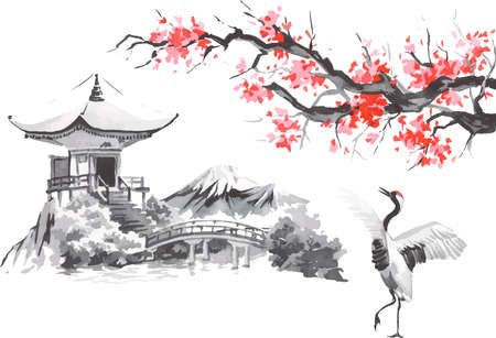 Japan traditional sumi-e painting. Fuji mountain, sakura, sunset. Japan sun. Indian ink vector illustration. Japanese picture. Ilustração