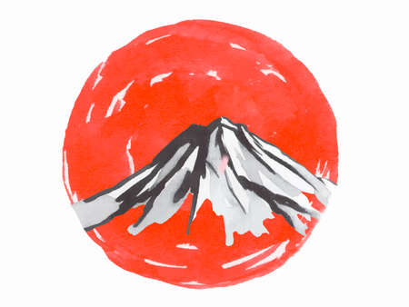 Japan traditional sumi-e painting. mountain, sakura, sunset. Japan sun. Indian ink illustration. Japanese picture.