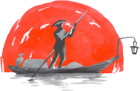 Japan traditional sumi-e painting. Fuji mountain, fisherman, sunset. Japan sun. Indian ink illustration. Japanese picture on rice paper. Vector drawing.