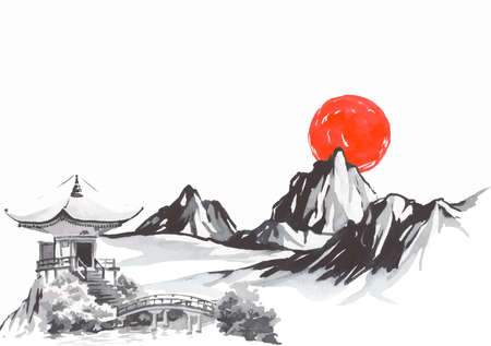 Japan traditional sumi-e painting. Fuji mountain, sakura, sunset. Japan sun. Indian ink vector illustration. Japanese picture.
