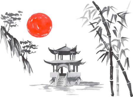 Japan traditional sumi-e painting. Fuji mountain, sakura, sunset. Japan sun. Indian ink vector illustration. Japanese picture. Ilustração