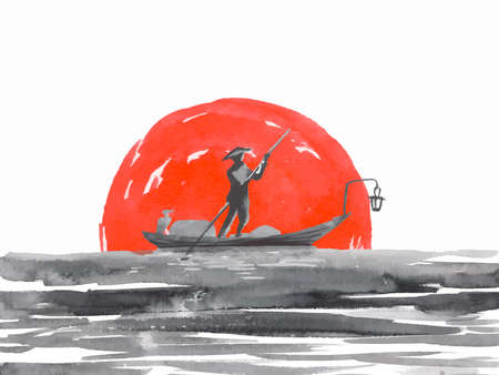 Japan traditional sumi-e painting. Fuji mountain, sakura, sunset. Japan sun. Indian ink vector illustration. Japanese picture. Imagens