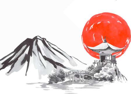 Japan traditional sumi-e painting. Fuji mountain, sakura, temple, sunset. Japan sun. Indian ink vector illustration. Japanese picture. Ilustração