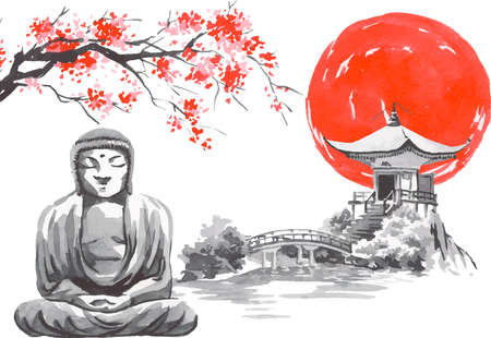 Japan traditional sumi-e painting. Fuji mountain, sakura, temple, sunset. Japan sun. Indian ink vector illustration. Japanese picture. Imagens