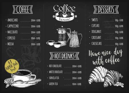 Restaurant menu design. Coffee restaurant brochure vector, coffee shop menu design.