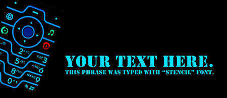 Backlit cellphone keyboard glowing in the dark with room for text for banner or presentation photo