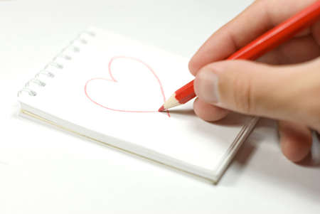 A piece of paper with heart drawing photo