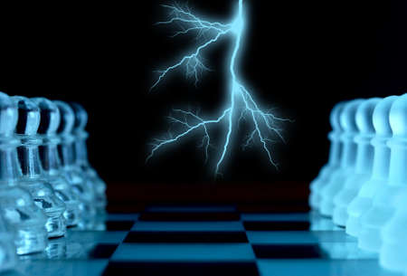 mind set: Lightning before chess battle Stock Photo