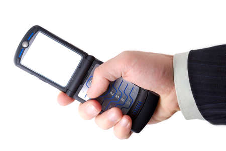 businessman holds mobile phone Stock Photo - 4270804