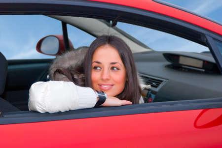 belle femme dans une voiture Banque d'images - 4608588