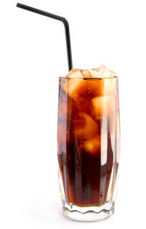the carbonation: glass of cola with straw
