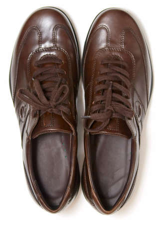 dirty old man: brown shoes, top view