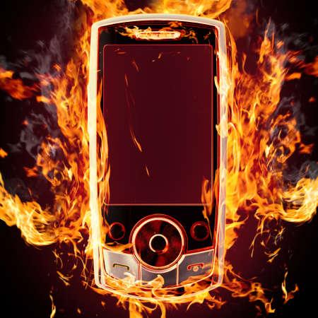 burning phone photo