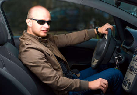 young man in a car photo