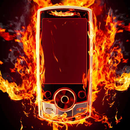 burning phone Stock Photo