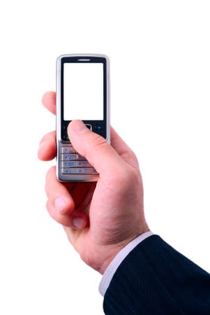 businessmen holds mobile phone. photo