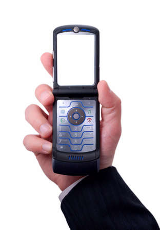 businessmen holds mobile phone photo