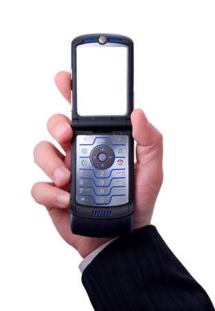 businessmen holds mobile phone photo