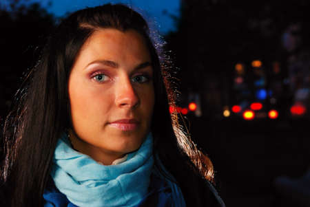woman on a night street photo