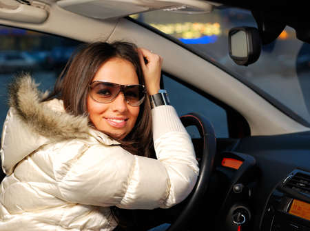 young beautiful woman in a car Stock Photo - 5909818