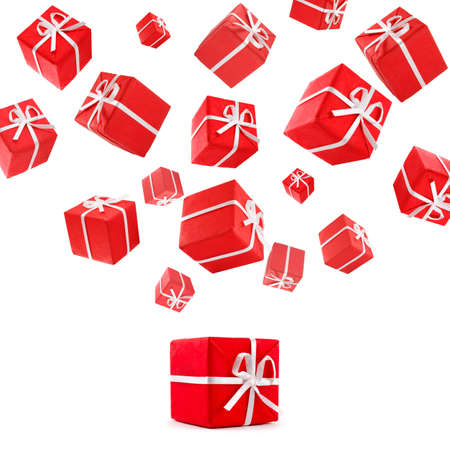 flying red gift boxes Stock Photo - 6048266