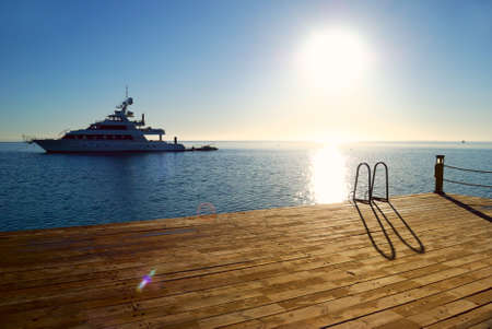 luxury yacht: tropical sunrise pier