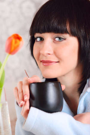 beautiful woman at spring breakfast photo