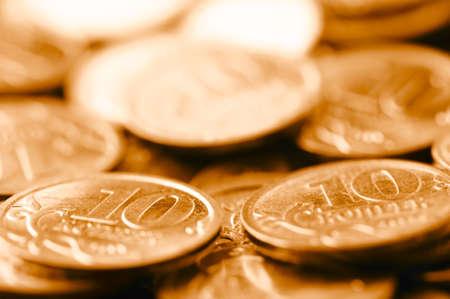 macro shot of golden coins photo