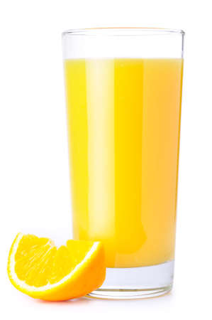 orange juice and slice isolated on white photo