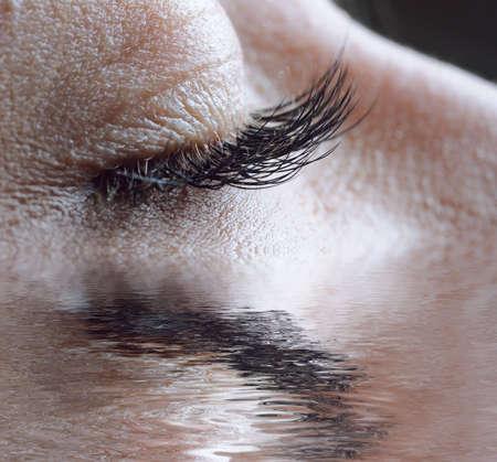 closeup of female closed eye photo