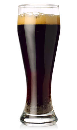 unstrained: glass of dark beer isolated on white  Stock Photo