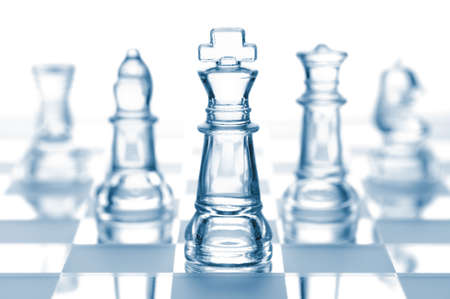 chess move: transparent glass chess isolated on white