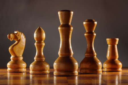 wooden aged chess set Stock Photo