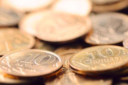 macro shot of golden coins. photo