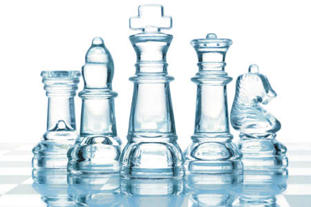 queen blue: transparent glass chess isolated on white