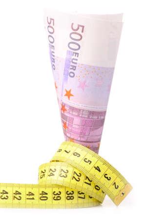 metre: euros with yellow metre Stock Photo
