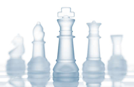 frosted: transparent glass chess isolated on white