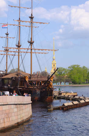 frigate near Peter and Paul cathedral in Saint-Petersburg Russia photo