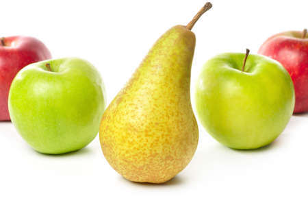 apples and pear isolated on white photo