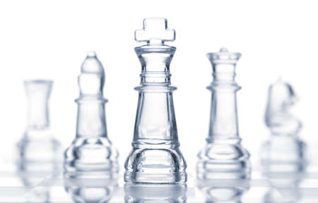 bishop chess piece: transparent glass chess isolated on white