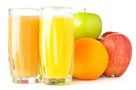 fruits with juice isolated on white photo