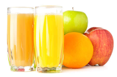 fruits with juice isolated on white photo