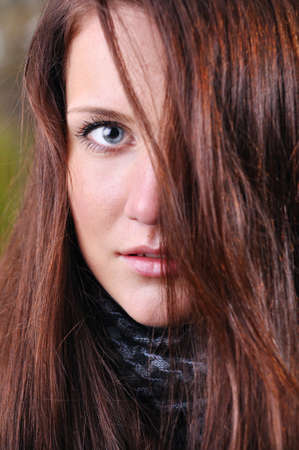 close up portrait of a beautiful young woman  photo