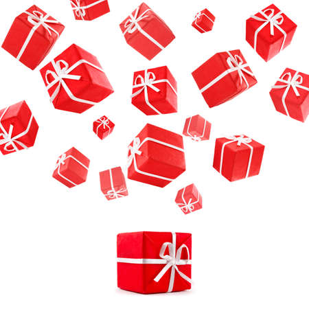 flying red gift boxes Stock Photo - 8345853