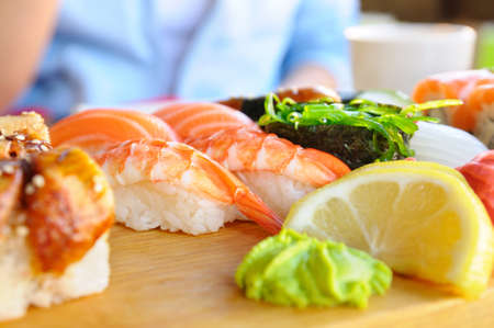 eating japanese food  photo
