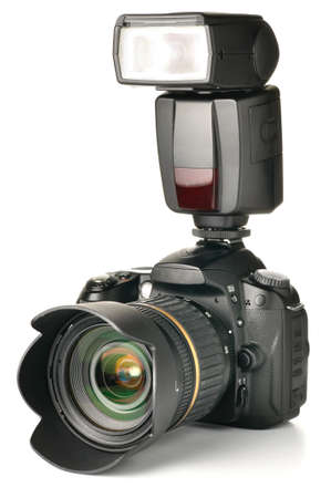 camera with an external flash attached Stock Photo - 8345808