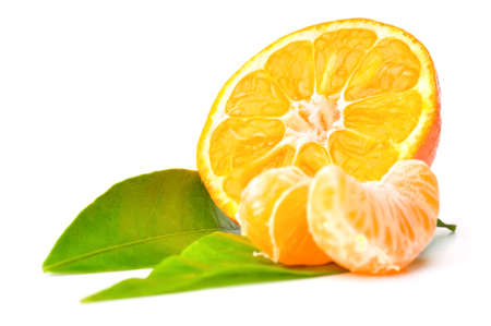 fresh mandarin isolated on white Stock Photo - 8476754