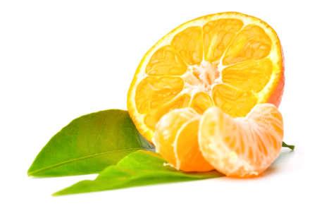 fresh mandarin isolated on white Stock Photo - 8476754