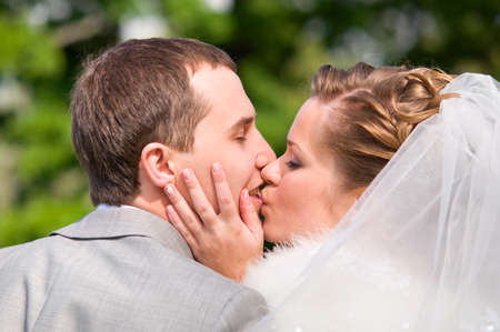 just married couple is kissing Stock Photo - 8705286